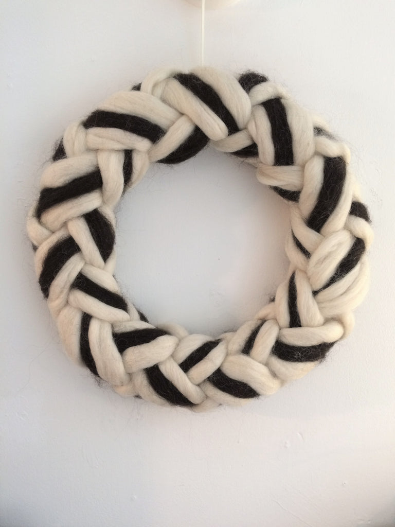 Teeswater & Norwegian Wool Grommet Knot Wreath by Fankled Up