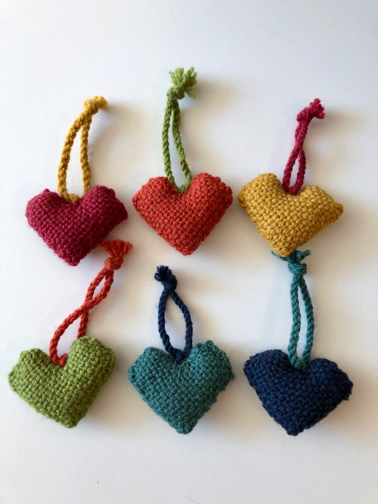 Wee Handwoven Heart Decorations