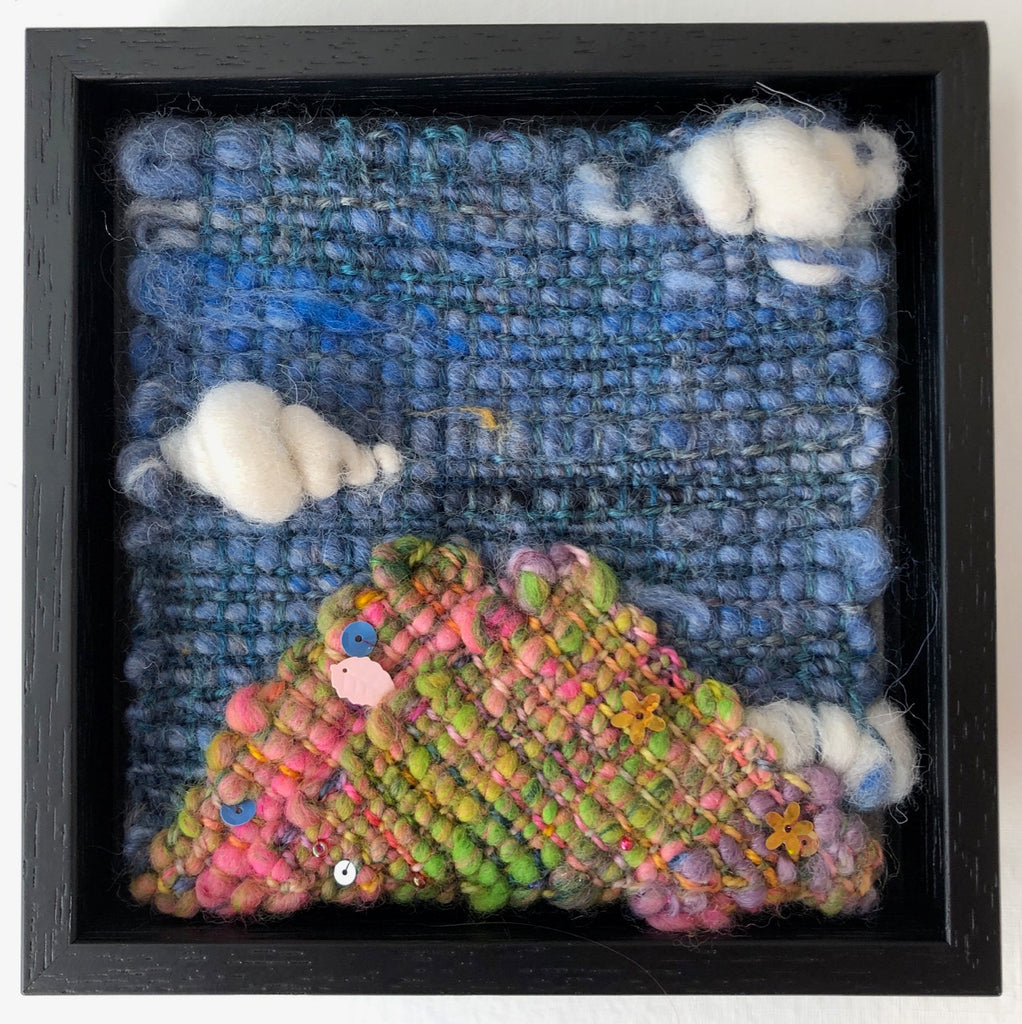 Clouds in the Sky over the Arran Mountains Handwoven Textile Art by Weft Blown