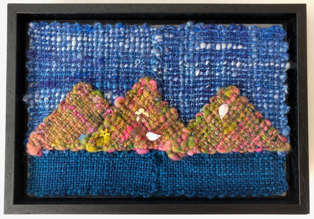 Blue Sky, Sea and the Arran Mountains Handwoven Textile Art by Weft Blown