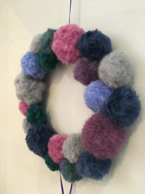 Purple, Blue, and Grey Pom Pom Wreath by Fankled Up