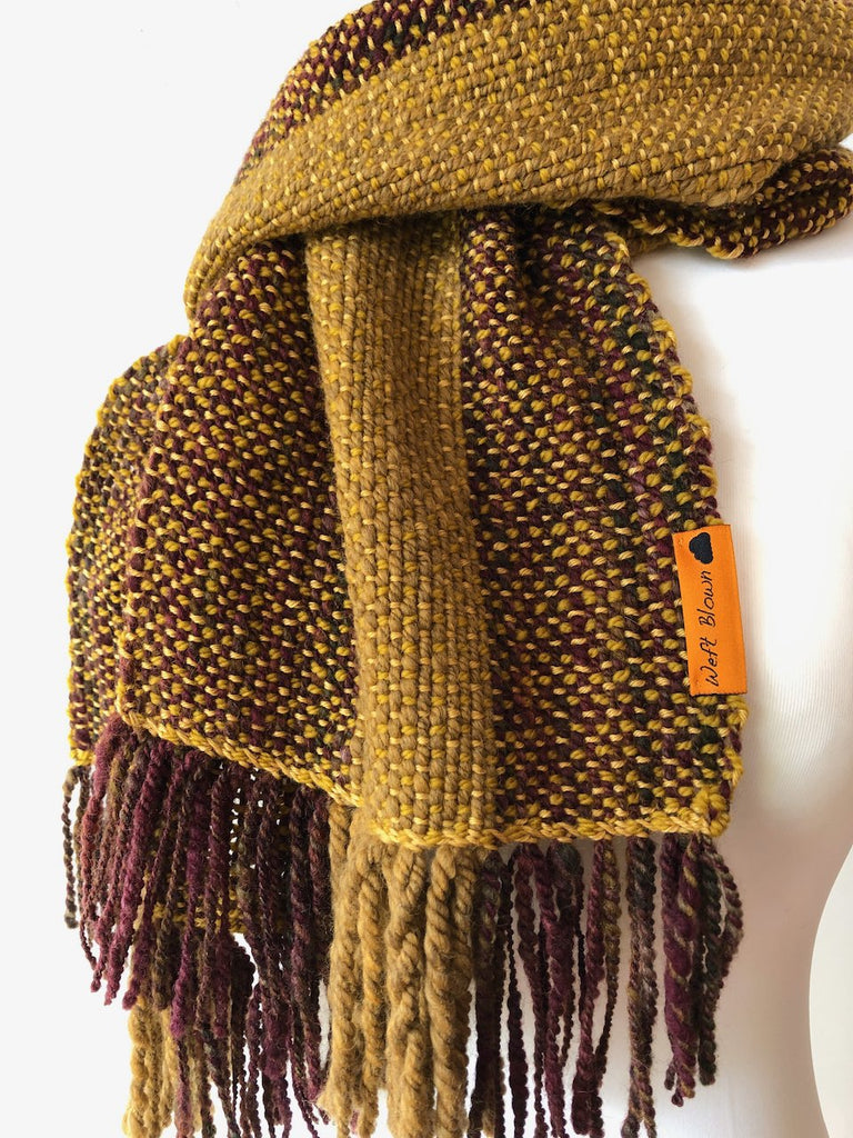 Autumn Gold Scarf Handwoven by Weft Blown