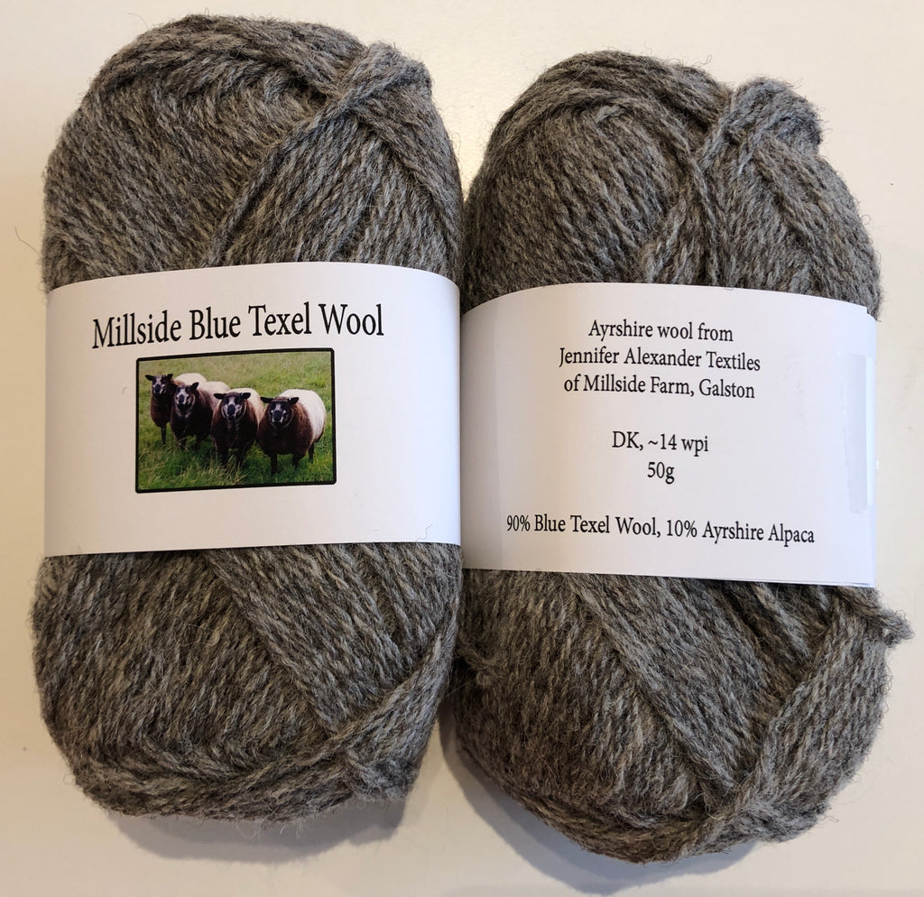 Millside Blue Texel Wool - Grey 50g