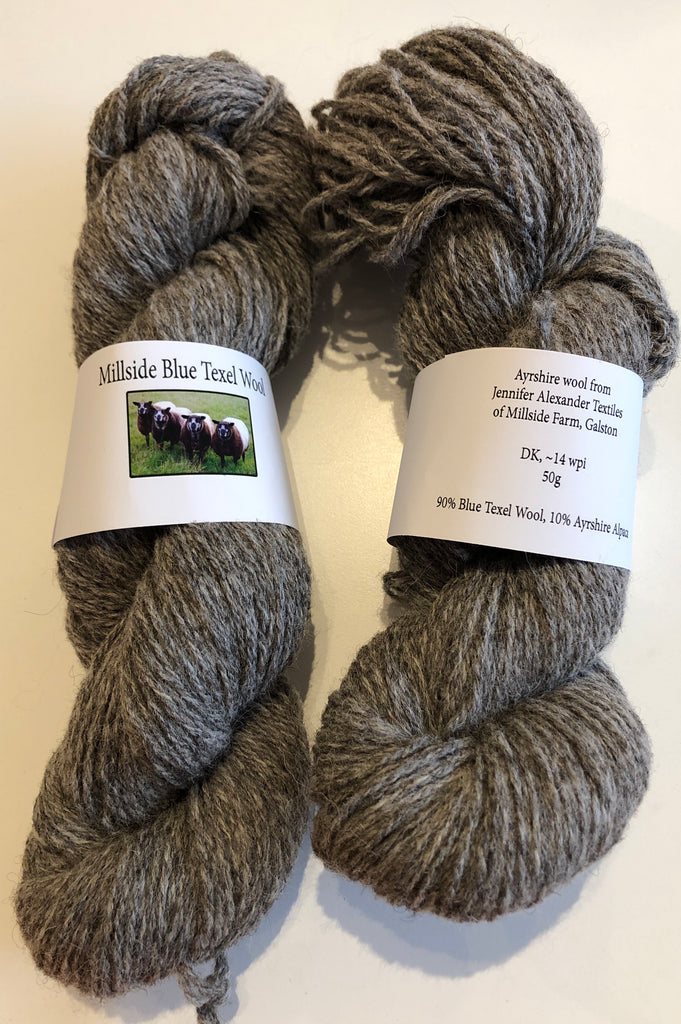 Millside Blue Texel Wool - Grey 100g