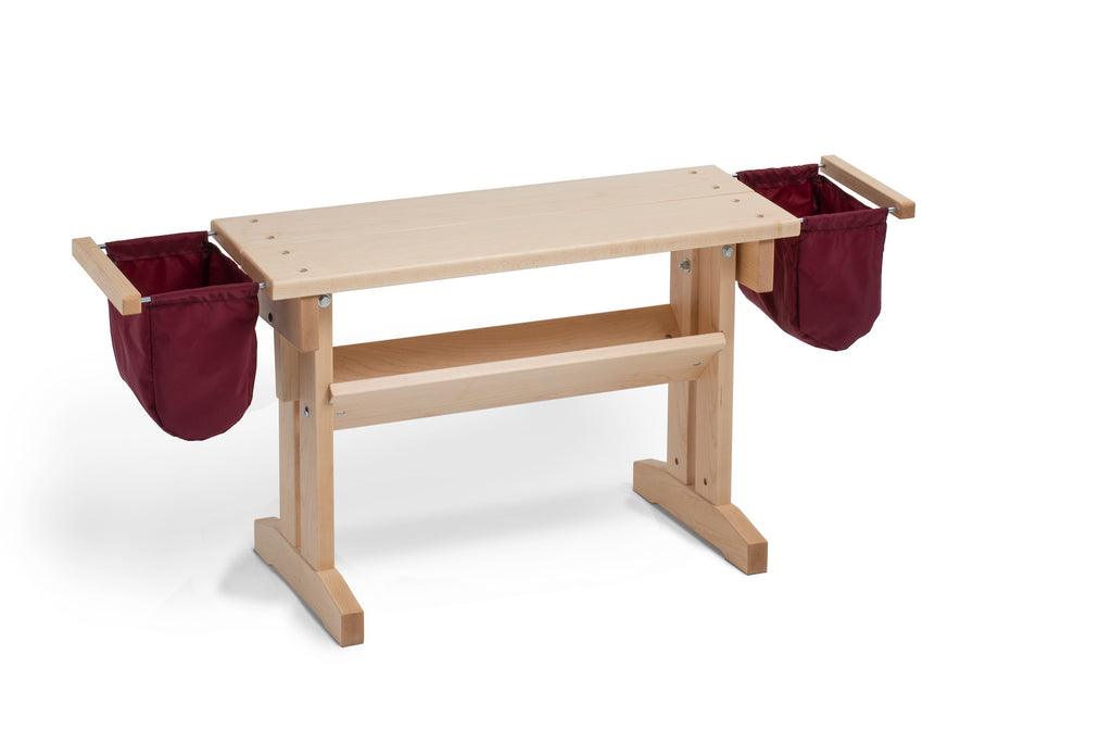 Schacht Bench for Wolf and Standard Floor Looms Maple with Bags