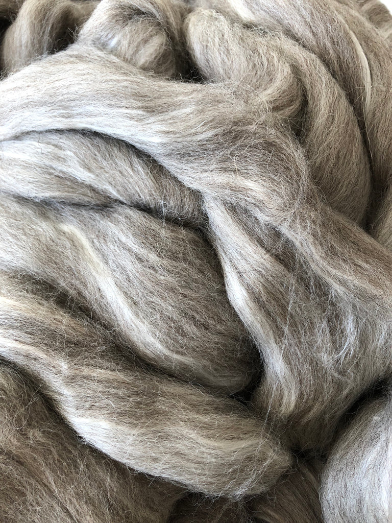 Shetland Wool/Extra Bleached Tussah Silk Top - Grey