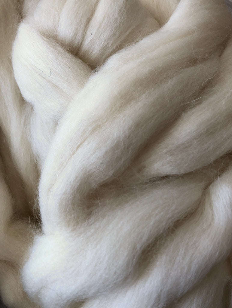 Natural Shetland Wool Top - White