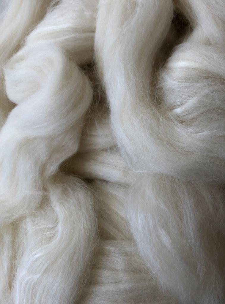Shetland Wool/Extra Bleached Tussah Silk Top - White