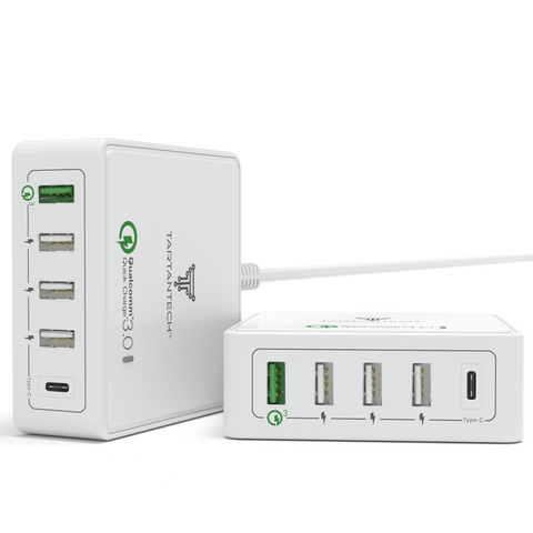 SmartPort+ 5.0 USB Charger with USB-C, Qualcomm 3.0 Quick Charge and Smart IC Technology