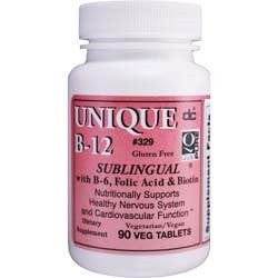 UNIQUE B-12 SUBLINGUAL VITAMIN with B-6, FOLIC ACID & BIOTIN 90 Tablets