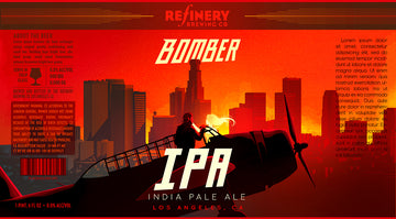 """BOMBER IPA"" Beer Label Illustration Refinery Brewing"