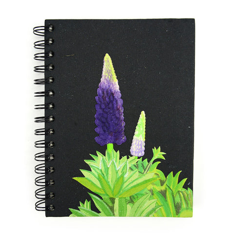 Ellie Pooh Notebook - Lupine Flower Black