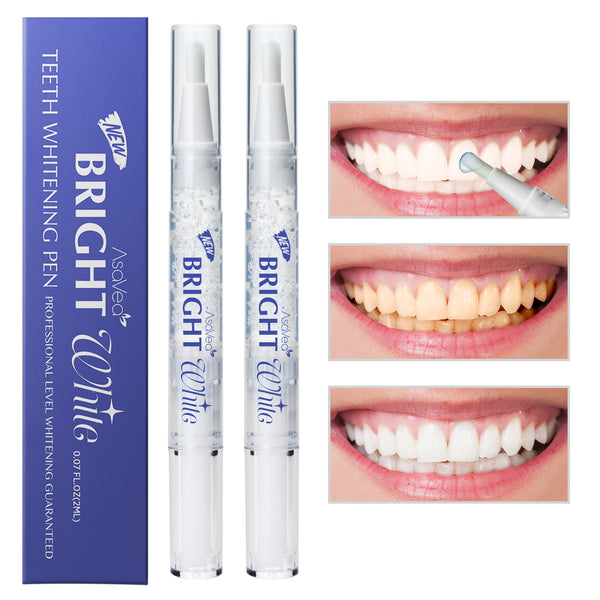 AsaVea Teeth Whitening Pen (2 Pack), Safe 35% Carbamide Peroxide Gel, 20+ Uses, Effective, Painless, No Sensitivity, Travel-Friendly, Easy to Use, Beautiful White Smile, Natural Mint Flavor