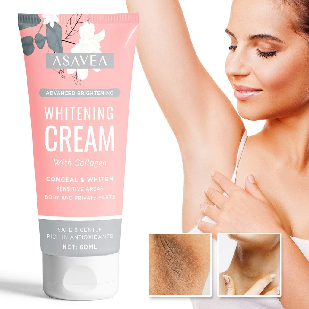 AsaVea Underarm Brightening Cream- Upgraded Formula with Kojic Acid and Collagen-Brightens Nourishes Moisturizes Underarm, Neck, Knees, Elbows, Between Legs 2oz.