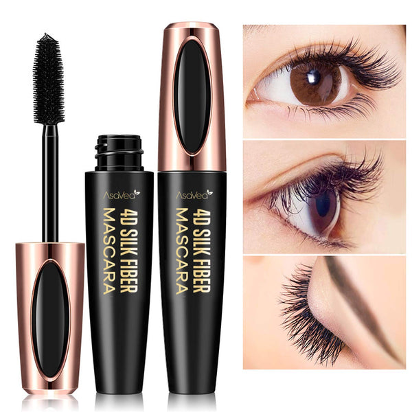 AsaVea 4D Silk Fiber Lash Mascara Waterproof, Luxuriously Longer, Thicker, Voluminous Eyelashes, Long-Lasting, Dramatic Extension, Smudge-proof, Hypoallergenic Formula (Black)