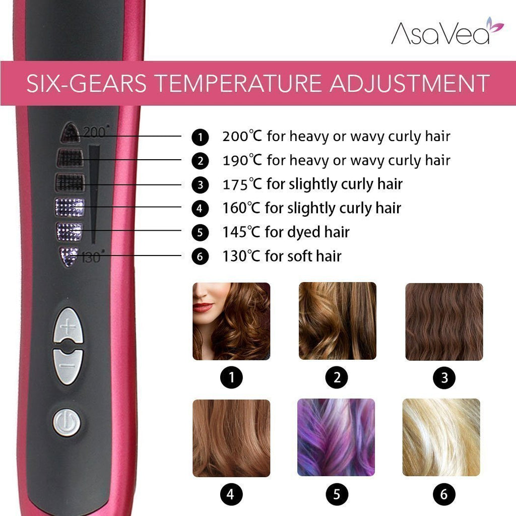 AsaVea Hair Straightening Brush 2, Anti-scald Patented Design, PTC Heating Technology, 30 Mins Auto Shut Off, Great Styler At Home, Red/Black