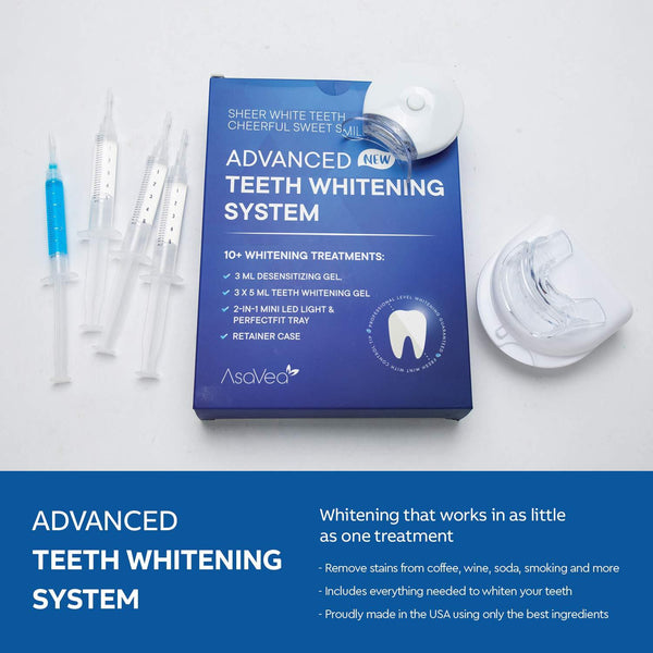 AsaVea Premium Teeth Whitening Kit, LED Light, At-Home System