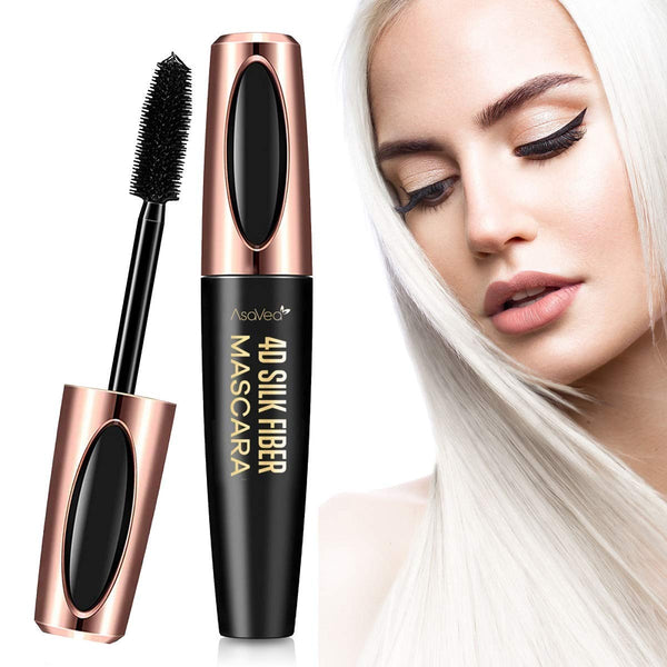 AsaVea 4D Silk Fiber Lash Mascara Waterproof, Luxuriously Longer, Thicker, Voluminous Eyelashes, Long-Lasting, All Day Exquisitely Lush, Full, Long, Thick, Smudge-Proof Eyelashes (Black)