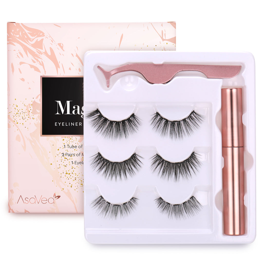 Magnetic Eyeliner and Magnetic Eyelash Kit - Eyelashes With Natural Look - Magnetic Eyelashes with Eyeliner Comes With Applicator, No Glue Needed | 3 Pairs