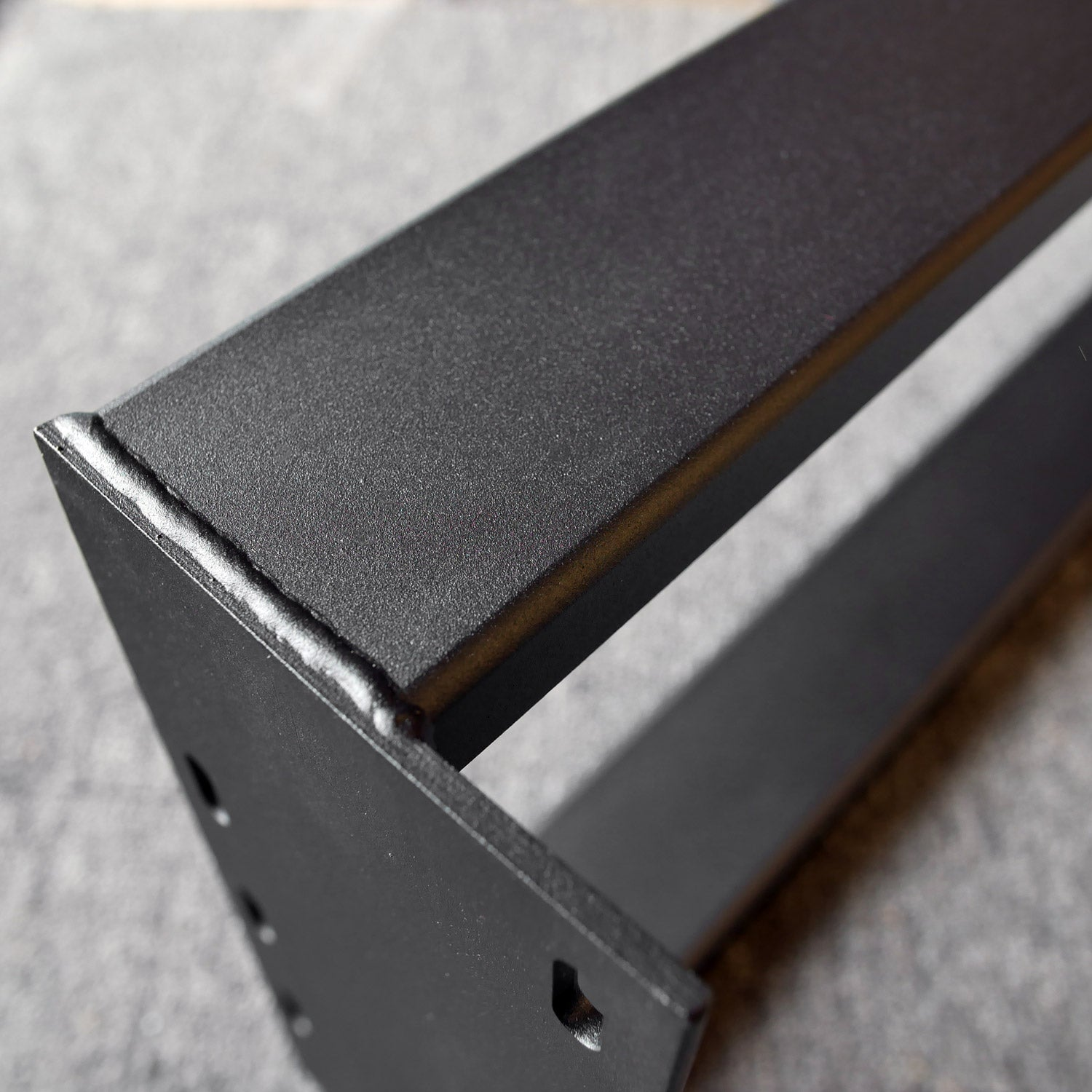 Metal table base in black powder coat mounting plate