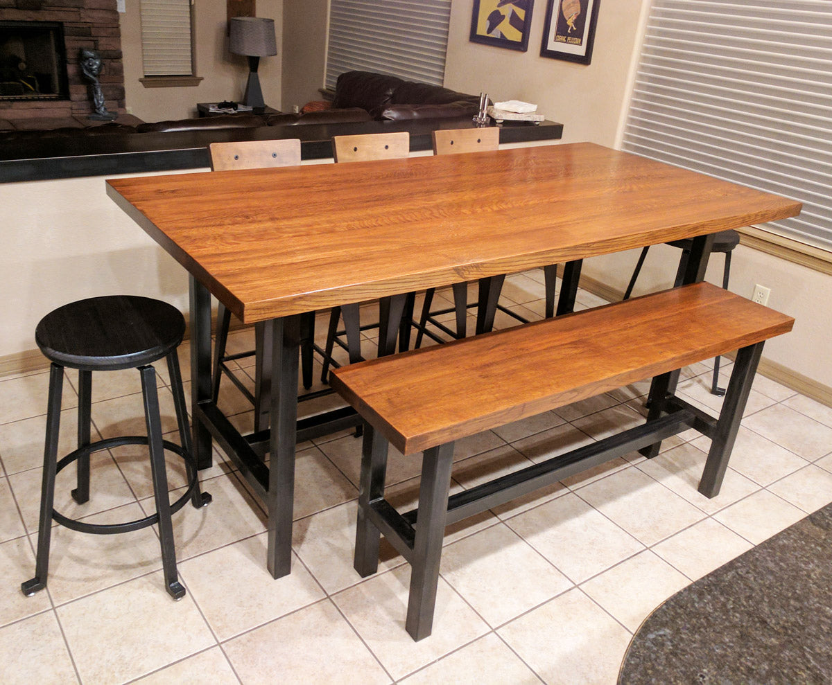 'Chassis' design used for matching dining table/bench set