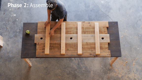 Assemble reclaimed wood dining table top