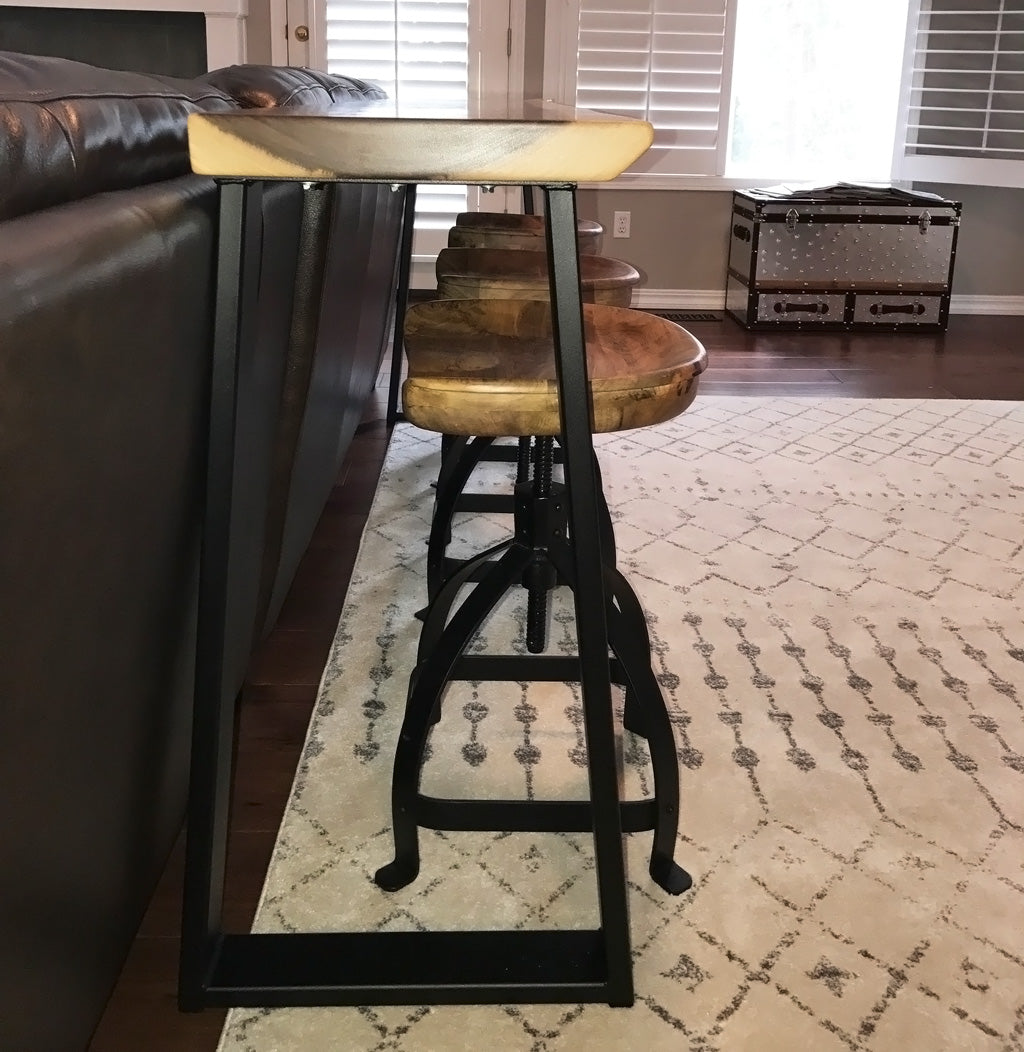 Console metal table legs. 'Summit' design in black powder coat
