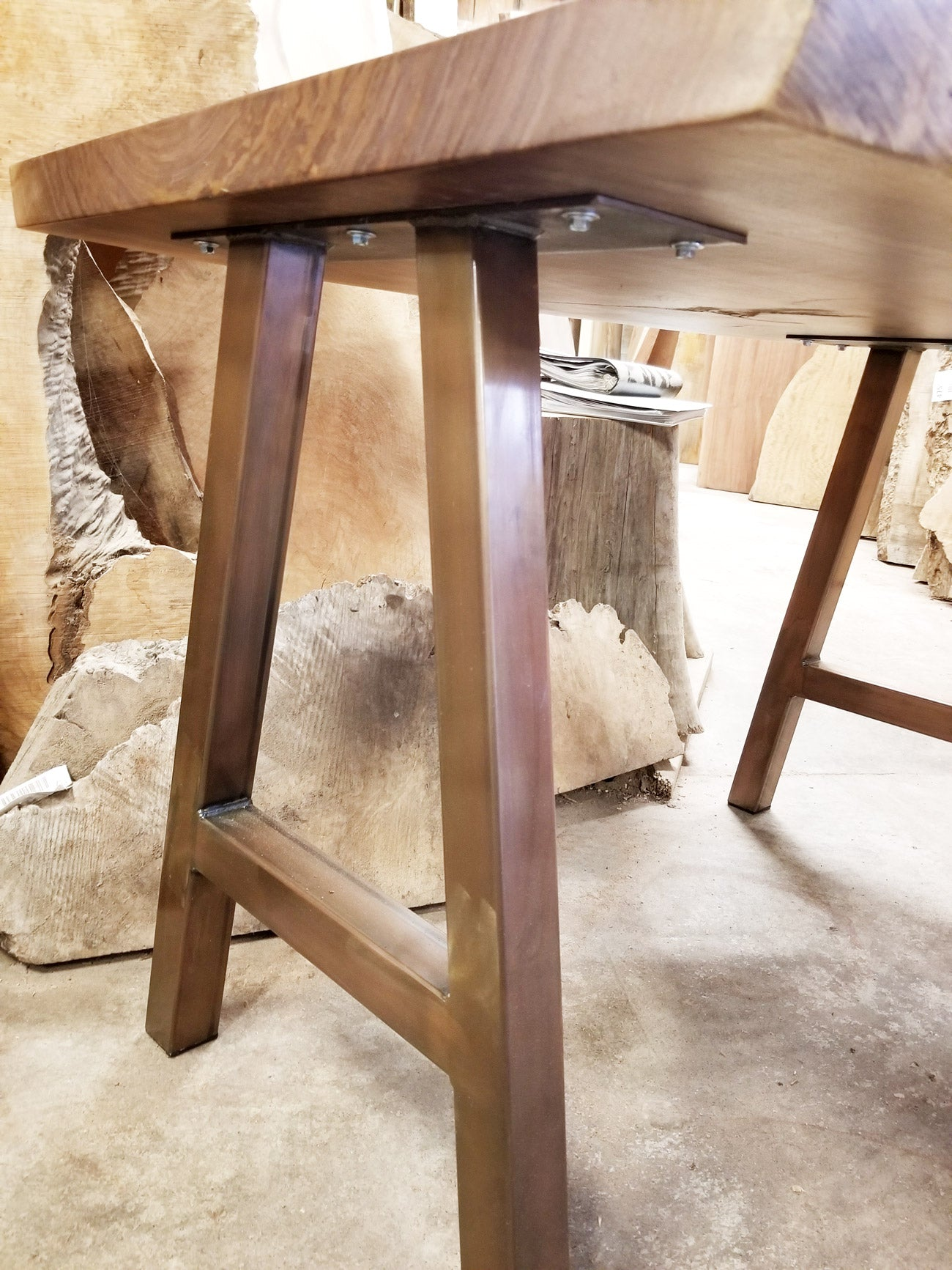 A-frame table legs in Copper Patina