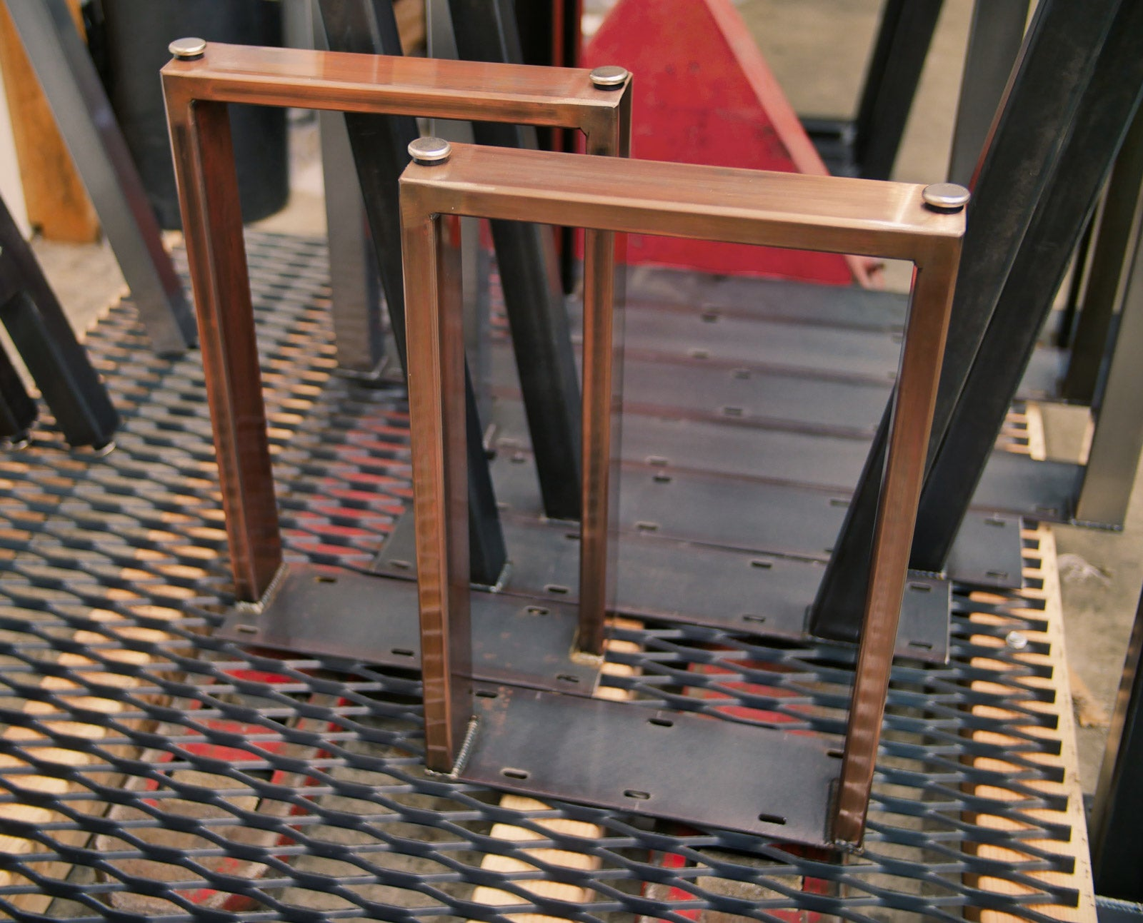 Metal coffee table legs in Antiqued Copper Patina finish