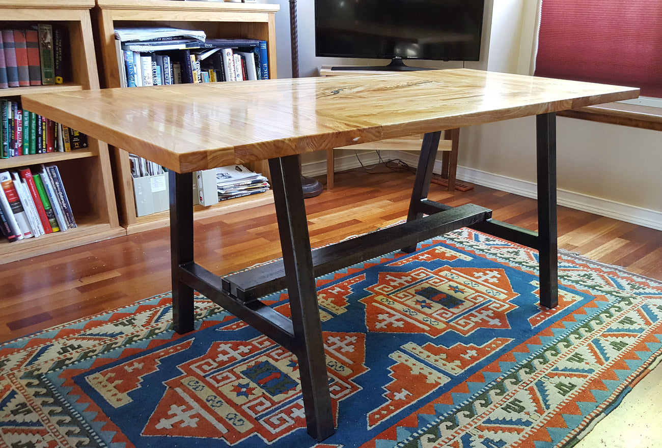 Custom Metal table base with wood support 'Timberline' by Symmetry Hardware