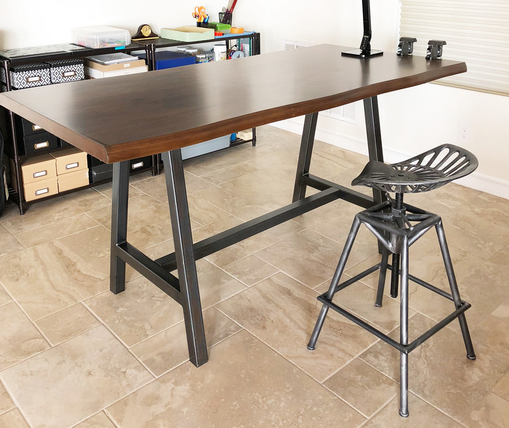 Metal table base with 'Industrial Dark' finish by Symmetry Hardware