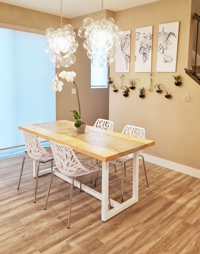 Custom metal table base 'Gemini' in white by Symmetry Hardware