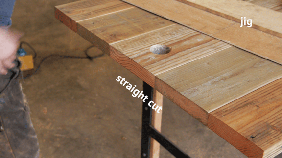 cutting diy rustic dining table ends