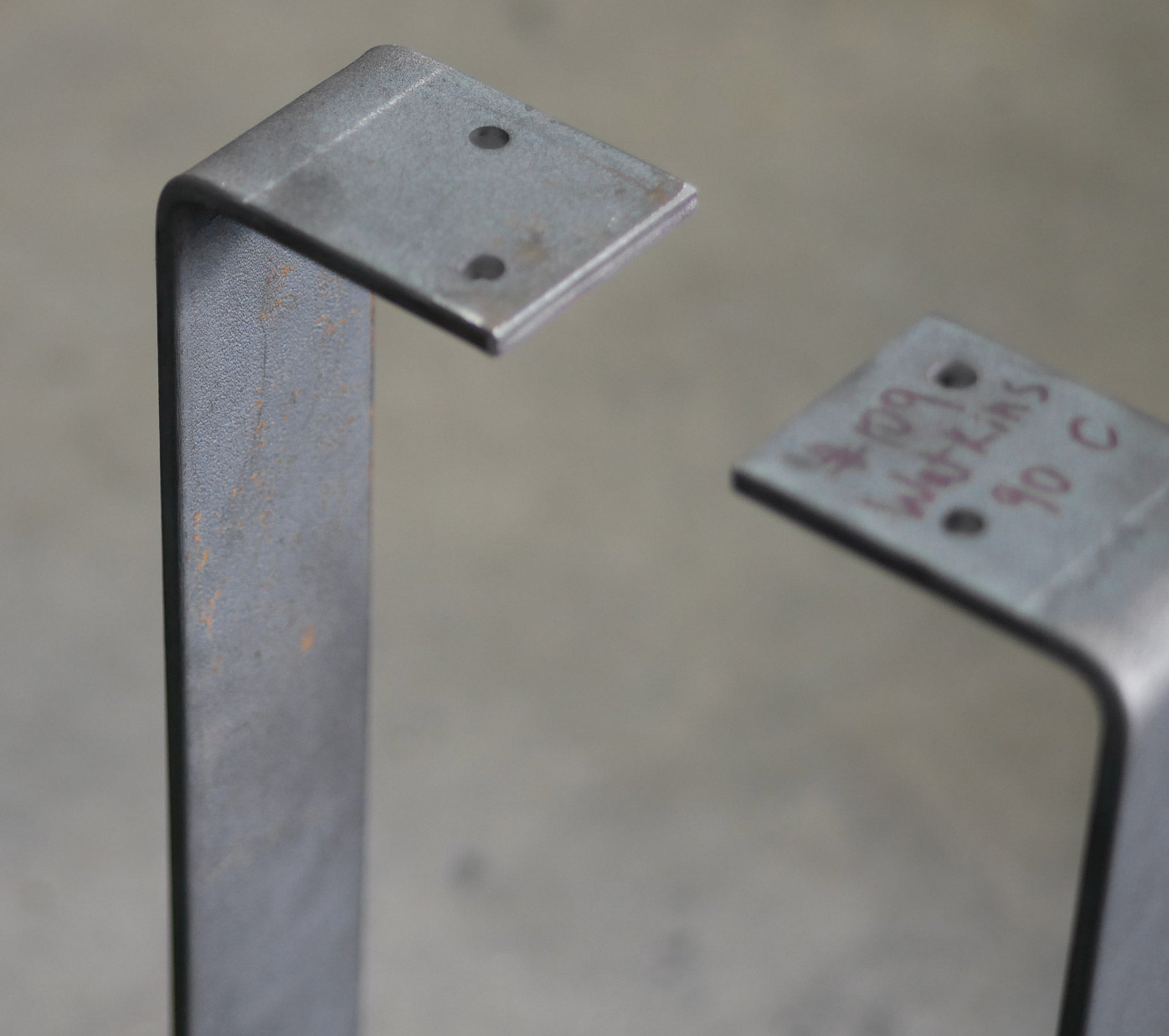 Top mount of flat bar table legs unfinished
