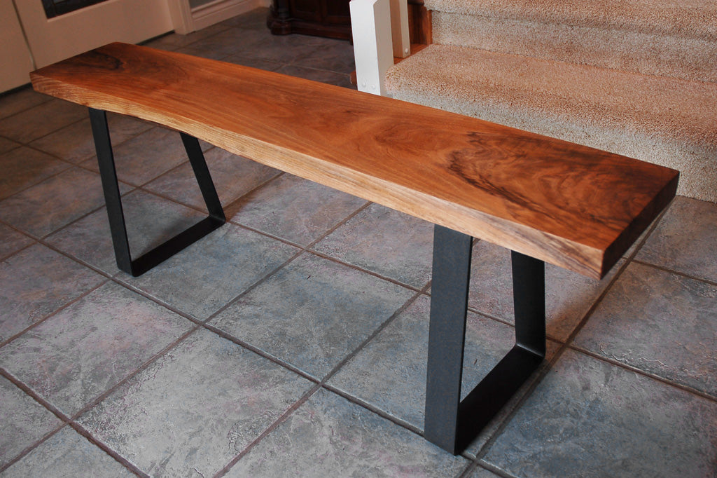 Metal bench legs 'Bell' with clear sealant finish