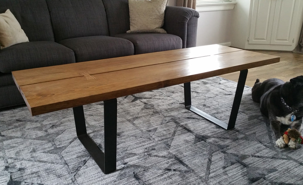 Metal coffee table legs 'Dipper' with clear sealant finish