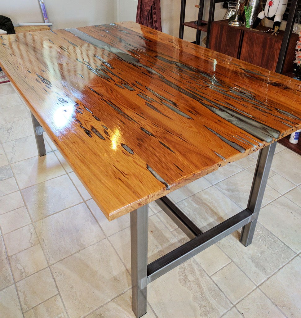 Metal Table Base 'Chassis' with clear sealant finish