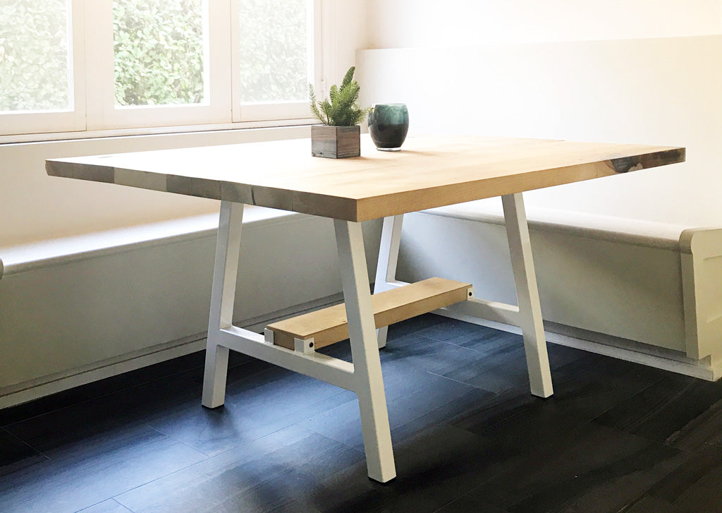 Metal table base 'Timberline' in white by Symmetry Hardware