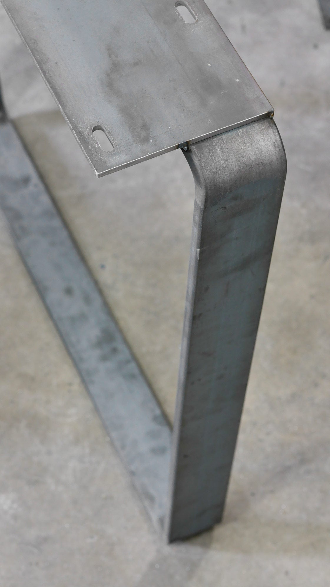 Flat bar table leg unfinished