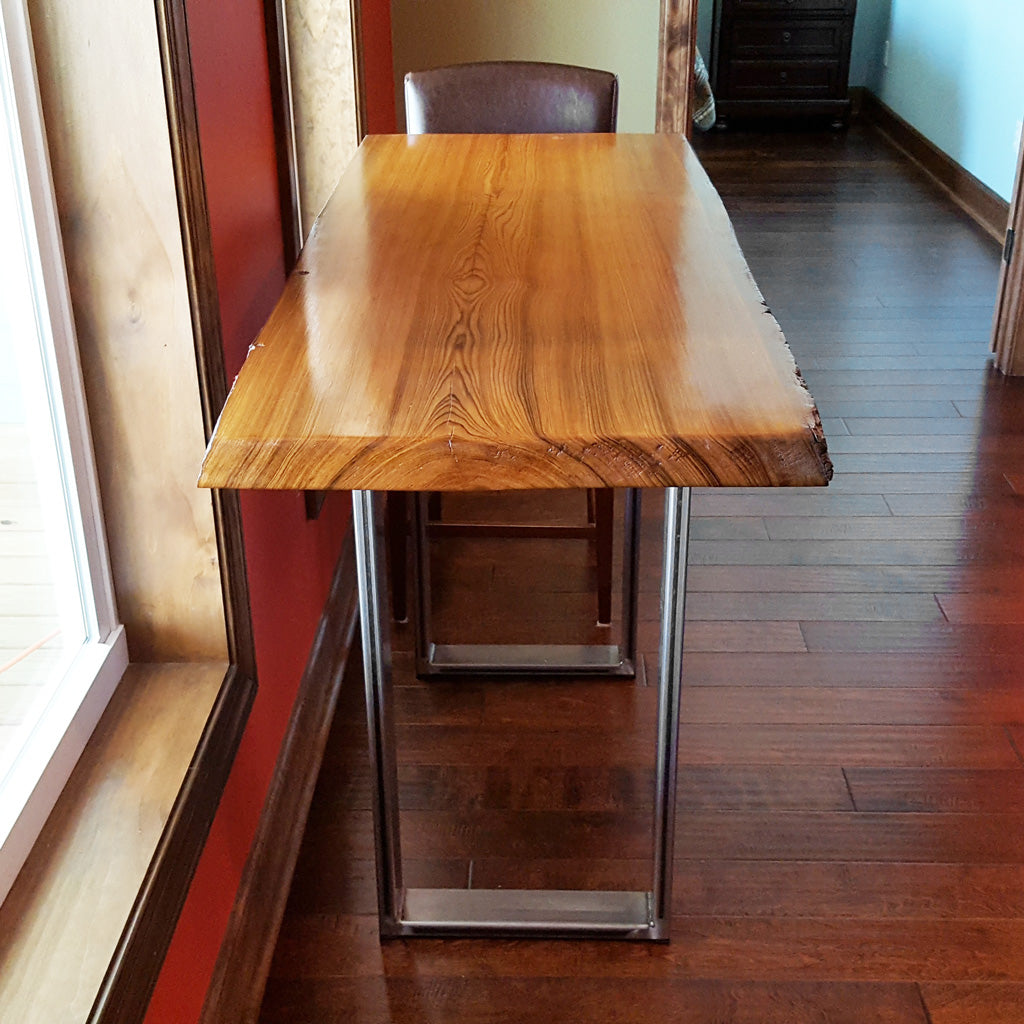 'Craftsman' metal table legs with clear sealant finish