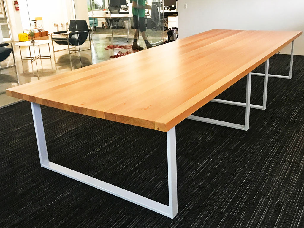 Custom metal table legs 'Gemini' in white by Symmetry Hardware
