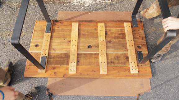 placing modern reclaimed wood dining table legs