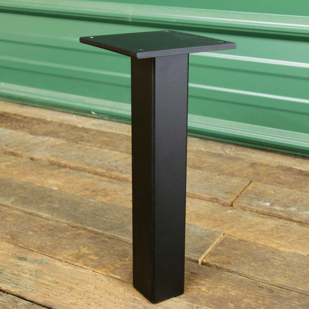 Black powder coat finish on Little Pillar metal table leg