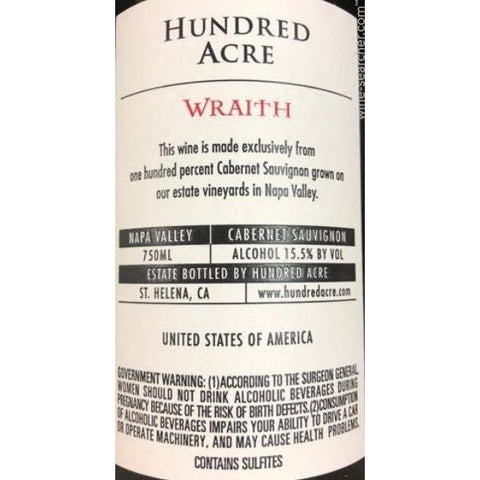 Hundred Acre Cabernet Sauvignon Wraith 2014