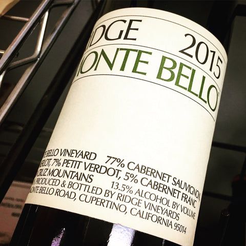 Ridge Vineyards Monte Bello 2015
