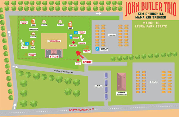 John Butler Trio Event Map Leura Park Estate. Bellarine Peninsula