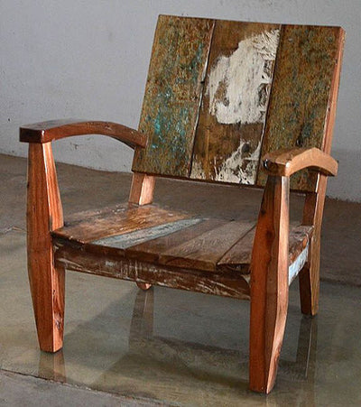 Outdoor Furniture   Outdoor Furniture, Reclaimed Teak Adirondack Style  Chair Made From Bali Boat Wood