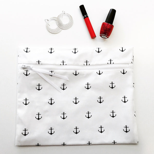 Sea Salt in Deep Sea Navy by Wander Wet Bags - Super cute, eco-friendly, powerfully water-resistant, wet swimsuit bags with waterproof lining