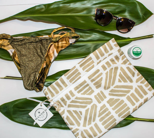 Wander Wet Bag ™ Eos in Champagne Gold - Super cute wet bag for wet swimsuits and wet bikinis with waterproof lining