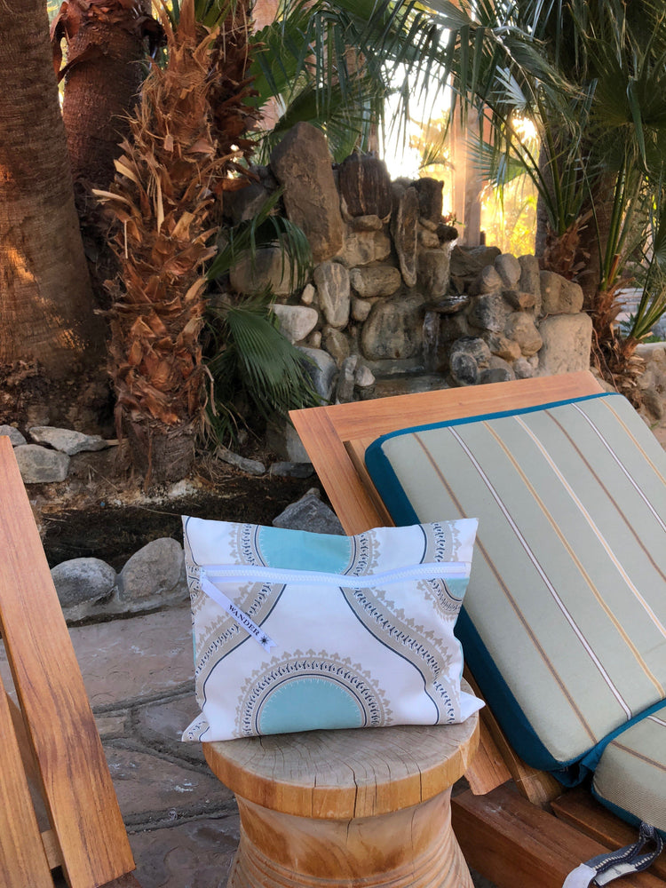 Palm Springs in Oasis Wet Bag, on wooden side table